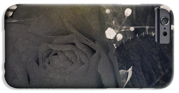 Sepia Flowers iPhone Cases - Rose iPhone Case by Les Cunliffe
