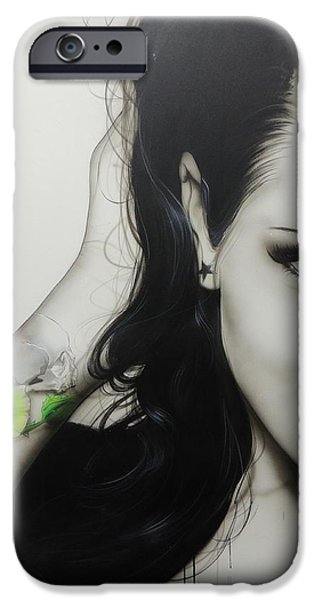 Hand Paint Brushed iPhone Cases - Rose of Envy iPhone Case by Christian Chapman Art