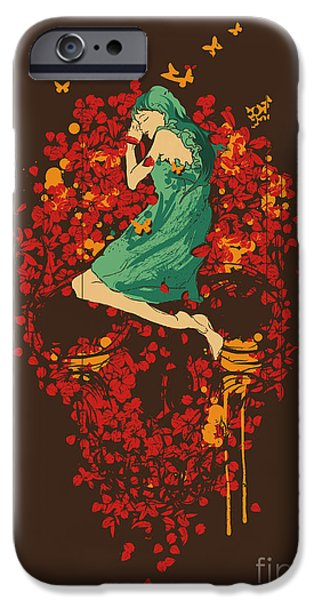 Macabre iPhone Cases - Roses are red but why you look so blue iPhone Case by Budi Kwan