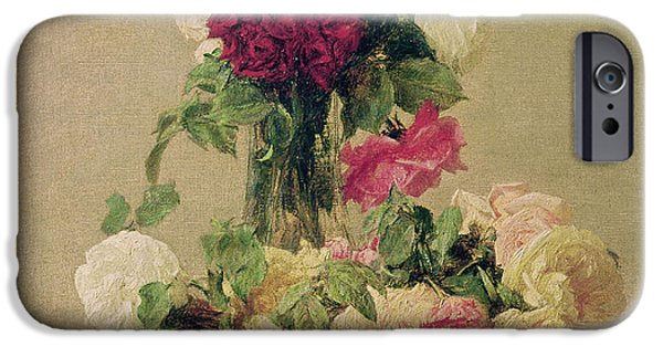 Rose iPhone Cases - Roses iPhone Case by Ignace Henri Jean Fantin-Latour