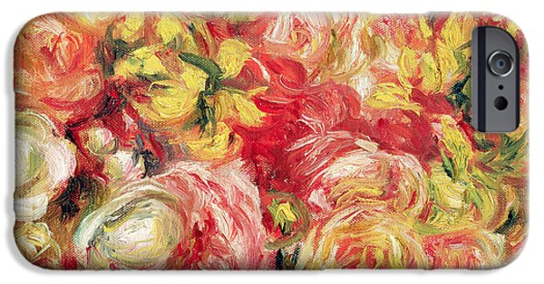 Pierre Auguste Renoir iPhone Cases - Roses iPhone Case by Pierre Auguste Renoir