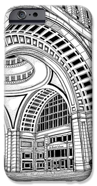 Boston Ma Drawings iPhone Cases - Rowes Wharf iPhone Case by Conor Plunkett
