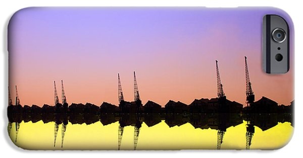 David iPhone Cases - Royal Docks Cranes  art iPhone Case by David French