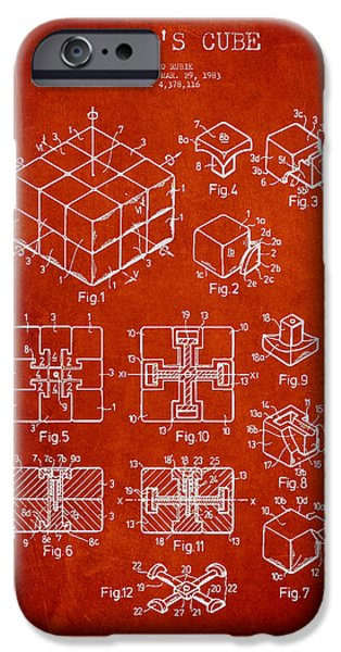 Rubiks Cube iPhone Cases - Rubiks Cube Patent iPhone Case by Aged Pixel