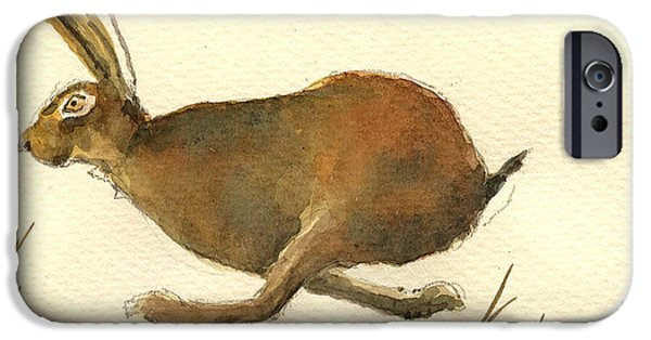 Running iPhone Cases - Running hare iPhone Case by Juan  Bosco