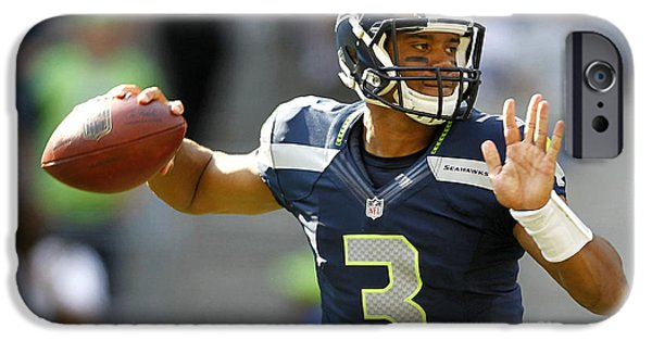 Football iPhone Cases - Russell Wilson iPhone Case by Marvin Blaine