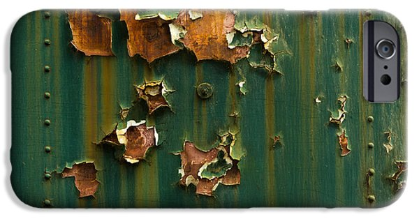 Grungy Pyrography iPhone Cases - Rusted metal texture closeup photo iPhone Case by Oliver Sved