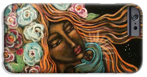 Maya Telford iPhone Cases - Sacred Mother Sacred Heart Sacred Earth iPhone Case by Maya Telford