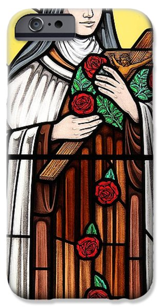 Little Glass Art iPhone Cases - Saint Therese of Lisieux iPhone Case by Gilroy Stained Glass