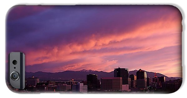 City Photographs iPhone Cases - Salt Lake City Sunset iPhone Case by Rona Black