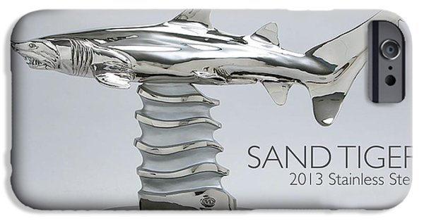 Shark Sculptures iPhone Cases - Sand Tiger Shark iPhone Case by Victor Douieb