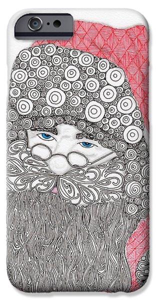 Santa Drawings iPhone Cases - Santangle iPhone Case by Paula Dickerhoff