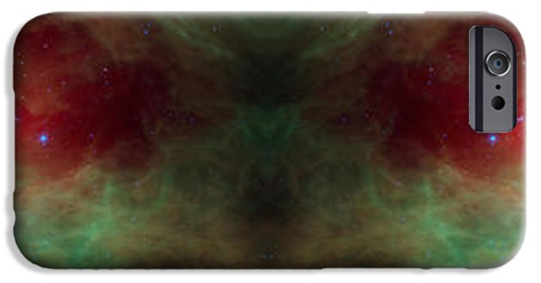 Creepy iPhone Cases - Scary Red Alien Eyes Abstract Space Art iPhone Case by Animated Sentiments