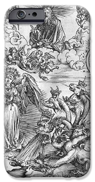 The Sun God iPhone Cases - Scene from the Apocalypse iPhone Case by Albrecht Durer or Duerer