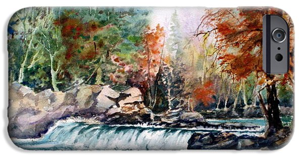 Maple Season Paintings iPhone Cases - Scenic Falls iPhone Case by Mohamed Hirji