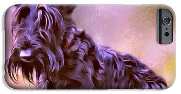 Scottish Terrier Puppy iPhone Cases - Scottish Terrier Portrait iPhone Case by Scott Wallace