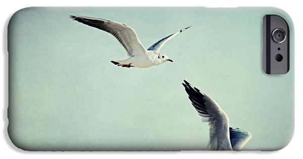 Seagull Mixed Media iPhone Cases - Seagulls iPhone Case by Heike Hultsch