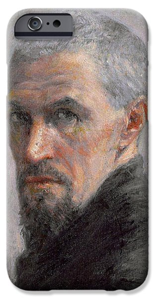 ist Self Portrait Paintings iPhone Cases - Self Portrait iPhone Case by Gustave Caillebotte