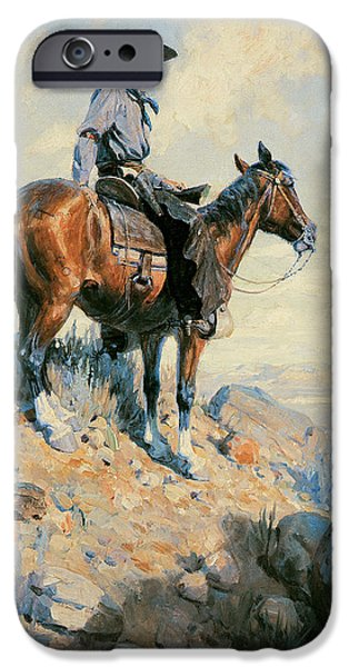 Working Cowboy Photographs iPhone Cases - Sentinel of the Plains iPhone Case by William Herbert Dunton