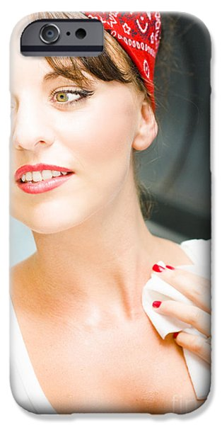 Hair-washing iPhone Cases - Sexy Cleaning Lady iPhone Case by Ryan Jorgensen