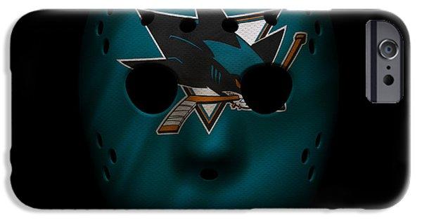 San Jose Sharks iPhone Cases - Sharks Jersey Mask iPhone Case by Joe Hamilton