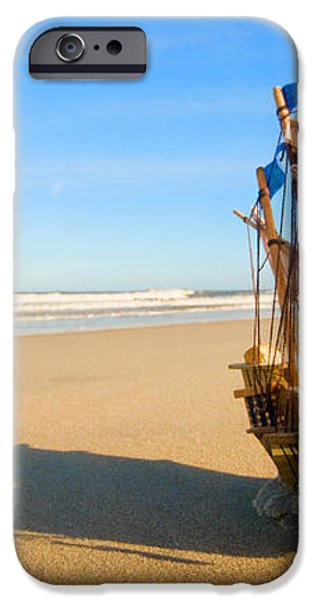 Ship model on summer sunny beach iPhone Case by Michal Bednarek