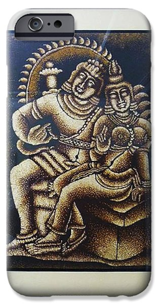 Abstracts Tapestries - Textiles iPhone Cases - Shiva And Parvathy iPhone Case by Sivaanan Balachandran