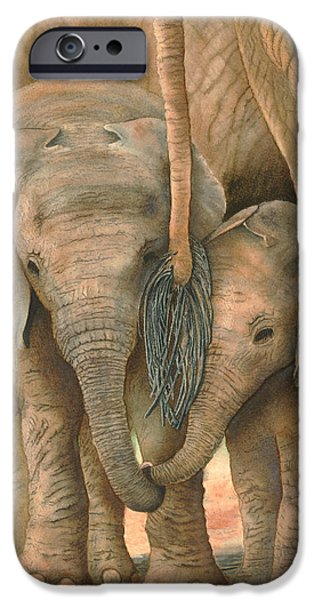 Elephants iPhone Cases - Sibling Love iPhone Case by Christelle Grey