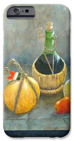 Italian Wine Paintings iPhone Cases - Sicilian Table iPhone Case by Pamela Allegretto