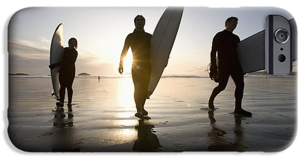 Mature Adult iPhone Cases - Silhouette Of Three Surfers Carrying iPhone Case by Deddeda