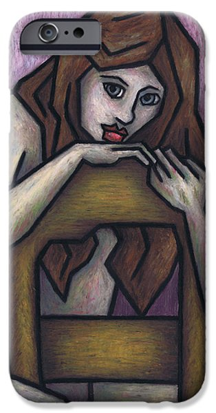 Fine Abstract Pastels iPhone Cases - Sitting Nude iPhone Case by Kamil Swiatek