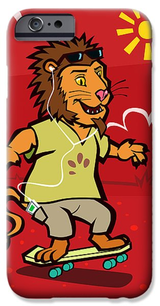 Kids Sports Art iPhone Cases - skateboarding Lion  iPhone Case by Martin Davey