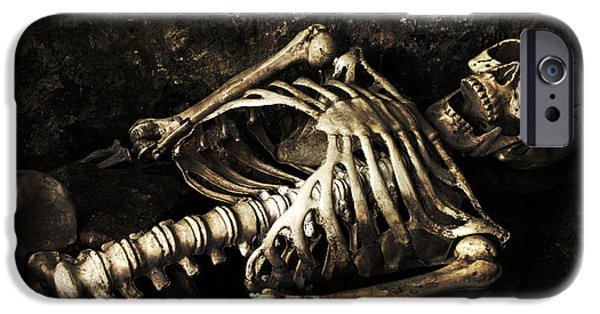 Head Stone iPhone Cases - Skeleton  iPhone Case by Amanda And Christopher Elwell