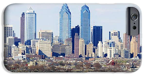 Built Structure iPhone Cases - Skyscrapers In A City, Philadelphia iPhone Case by Panoramic Images