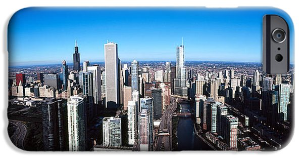 Willis Tower iPhone Cases - Skyscrapers In A City, Trump Tower iPhone Case by Panoramic Images