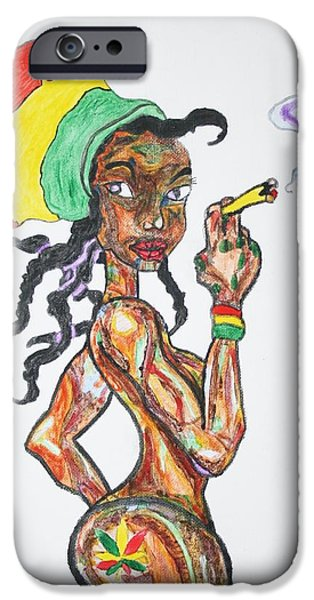 Jamaican Paintings iPhone Cases - Smoking Rasta Girl iPhone Case by Stormm Bradshaw