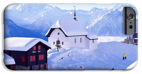 Swiss Photographs iPhone Cases - Snow Covered Chapel And Chalets Swiss iPhone Case by Panoramic Images
