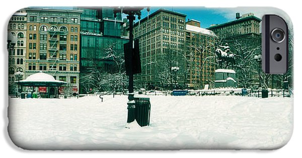 Union Square iPhone Cases - Snow Covered Park, Union Square iPhone Case by Panoramic Images