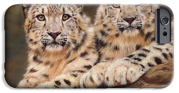 Tibet iPhone Cases - Snow Leopards iPhone Case by David Stribbling