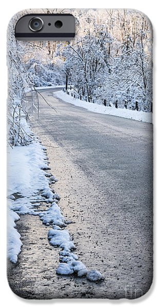 Winter Storm iPhone Cases - Snow on winter road iPhone Case by Elena Elisseeva