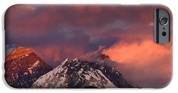 Mountain iPhone Cases - Snowcapped Mountain Peaks, Mt Everest iPhone Case by Panoramic Images