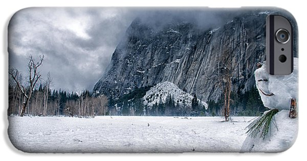 Winter iPhone Cases - Snowmen of Yosemite iPhone Case by Cat Connor