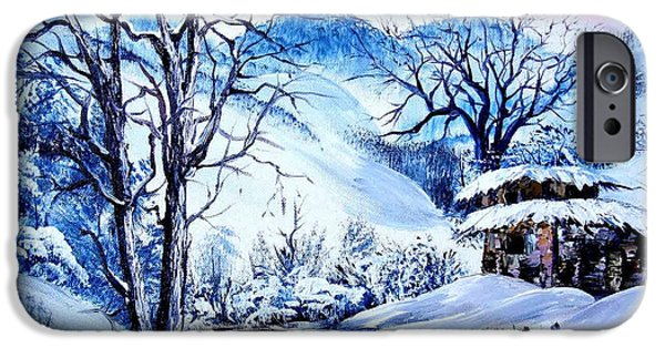 Bob Ross Paintings iPhone Cases - Snowy Day iPhone Case by Shirwan Ahmed
