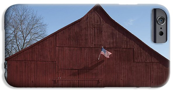 Patriots iPhone Cases - Snowy Patriotic Barn iPhone Case by Lauren Brice