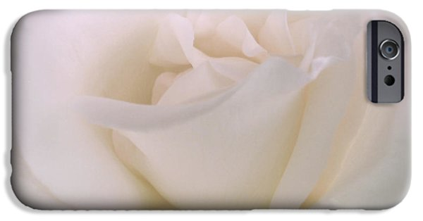 Rose Petals iPhone Cases - Softness of a White Rose Flower iPhone Case by Jennie Marie Schell