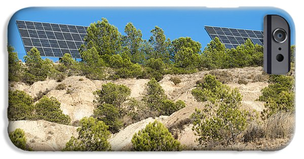 Electrical iPhone Cases - Solar panels on the mountain iPhone Case by Deyan Georgiev