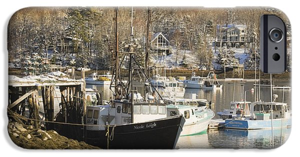 Winter Weather iPhone Cases - South Bristol and Fishing Boats on the Coast of Maine iPhone Case by Keith Webber Jr