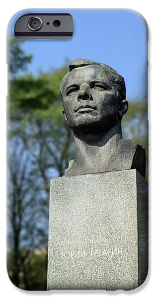 Statue Portrait iPhone Cases - Soviet Monument To Yuri Gagarin iPhone Case by Detlev van Ravenswaay