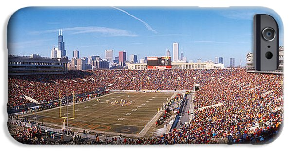 Soldier Field Photographs iPhone Cases - Spectators Watching A Football Match iPhone Case by Panoramic Images
