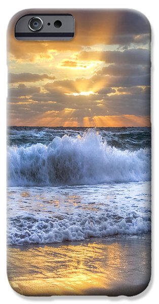 Ocean Sunset iPhone Cases - Splash Sunrise iPhone Case by Debra and Dave Vanderlaan